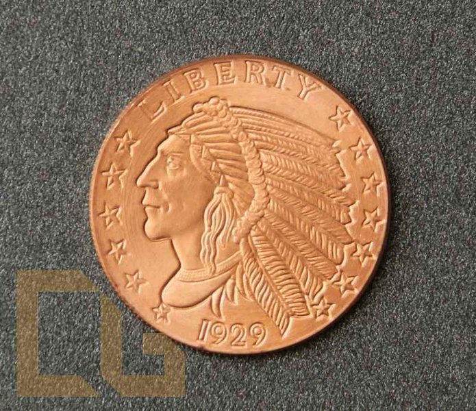 NATIVE INDIAN HEAD 1929 - 1/2 Oz.